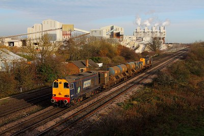 20308 tnt 20312 on the 3S14 1117 Grimsby Town to Malton at Melton Ross on the 24th November 2014