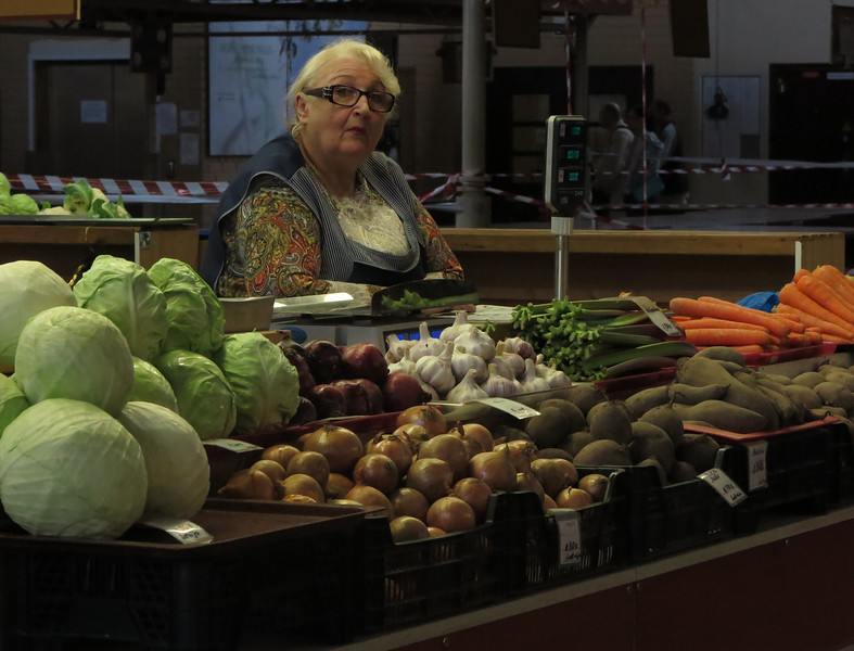 Waiting for the customers at the Central Market in Riga