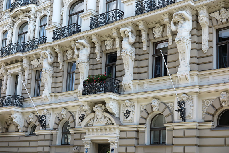 Riga, art nouveau facade with ornaments and pillars