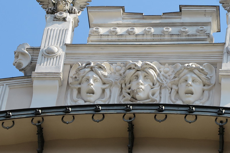 Riga, facade with devorative elements in typical art nouveau style