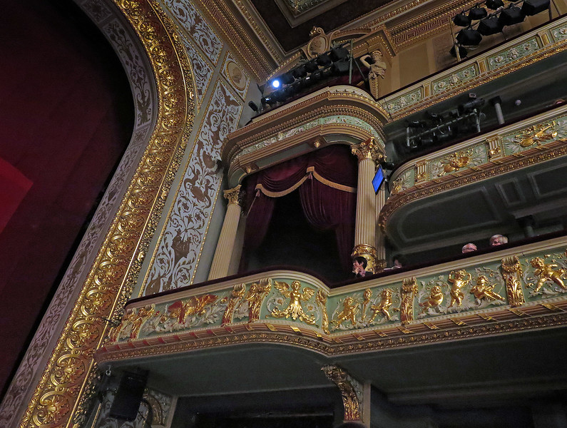 The stage-carpet, the honorary box and the balconies, details covered with leaf gold