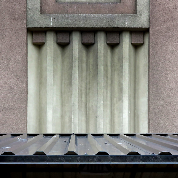 Riga. Detail of a storage-building designed in the functionalism style