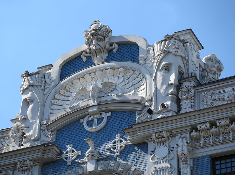 Typical art nouveau decorative elements with a dramatic expression