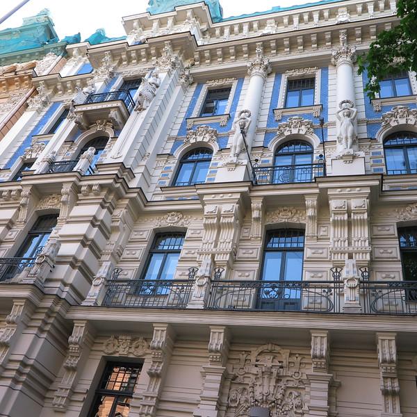 Art nouveau elaborate facade, Riga