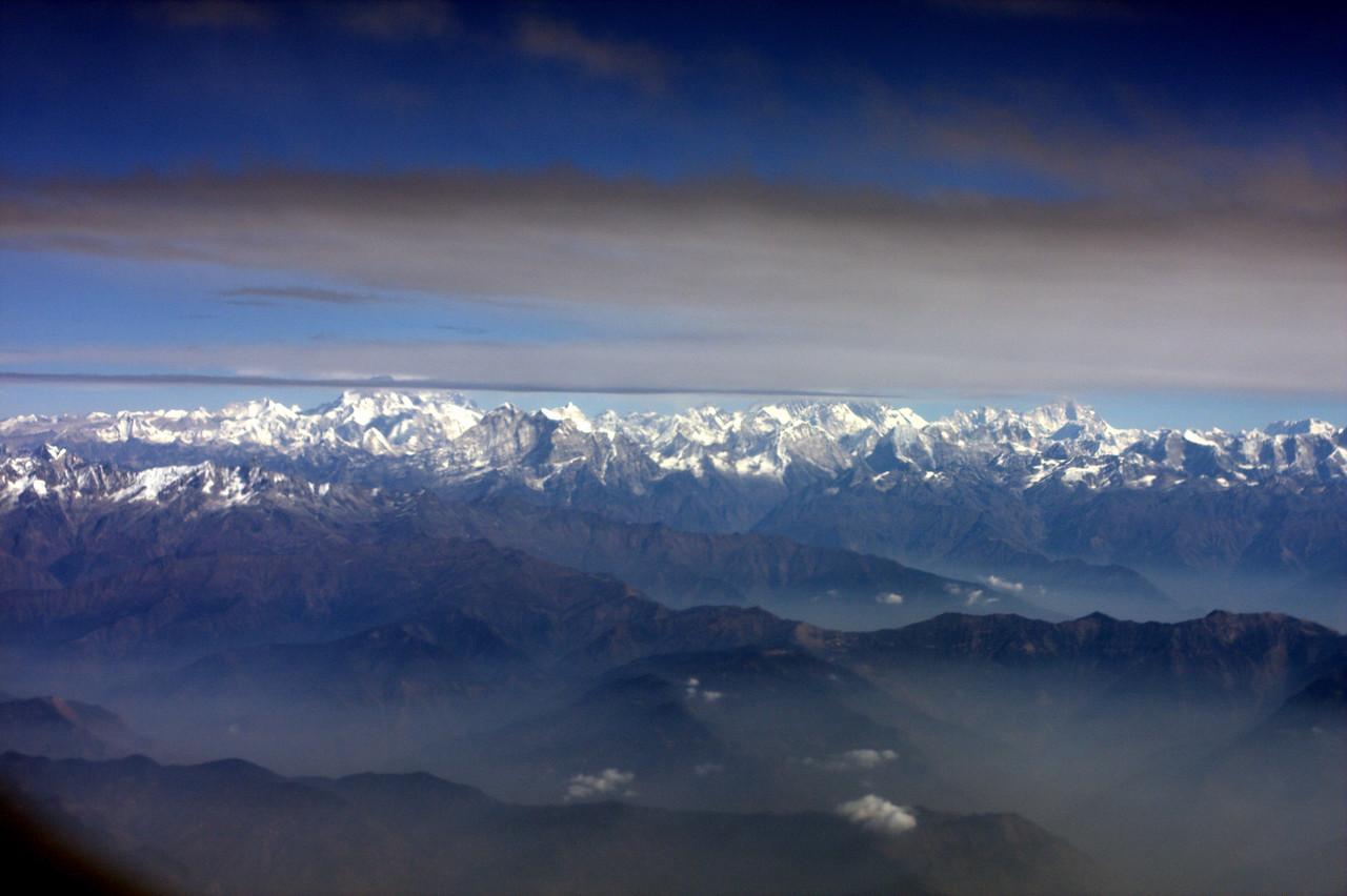 Flying into Kathmandu