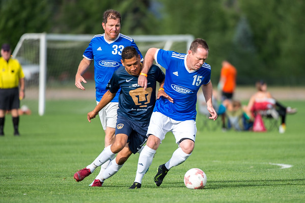 Perros Viejos vs FCFC during the Rocky Mountain Adult Soccer Tournament at Pleasant View Soccer Fields in Boulder, Colorado on July 27, 2019.