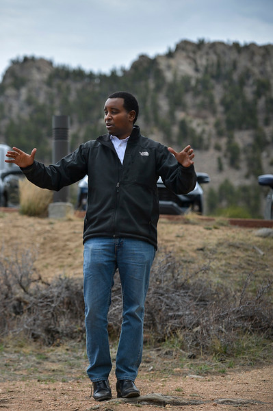 Joe Neguse describes how he has introduced more pieces of legislation than any other freshman member of Congress in his first 100 days in office representing the second congressional district of Colorado during a Community Service Town Hall on April 20 at the Beaver Meadows Visitor Center.