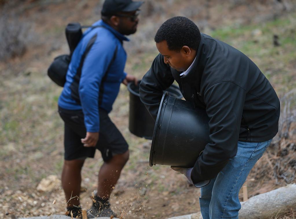 . Colorado Congressman Joe Neguse gets his hands dirty and empties a bucket of mulch on April 20.