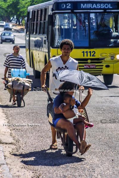 Transporte em carro de mão