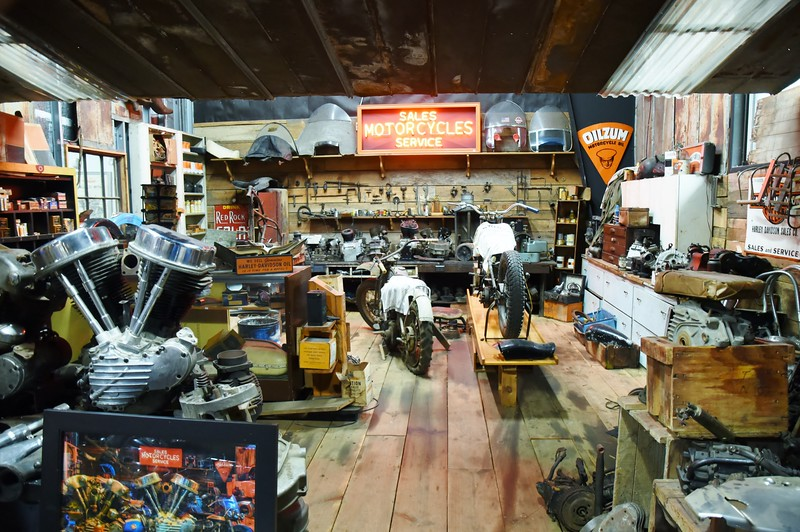 Several portions of the facility is set up as motorcycle repair shops..