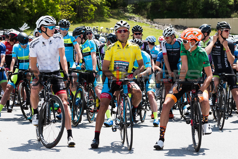 Joe Martin Stage Race. Stage 2. Race leaders line up as they are called to staging in the local Walmart parking lot. Janier Acevedo (Jamis) in the yellow, Nigel Essay (Silber) in the green, and Neilson Powless (Axeon Hagens Berman) in the white.