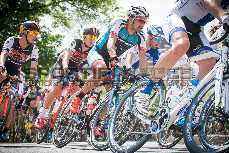 Joe Martin Stage Race. Stage 4. UCI Pro 1 Men.  Riders take a corner before a long descent.