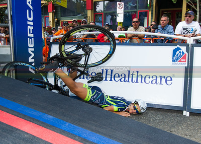 Krista Doebel-Hickok (TIBCO) takes a horrific fall off the ramp, but gets back on her bike to finish 40th for the day.