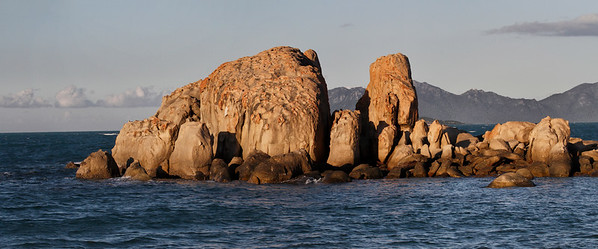 Multiple shot panorama. The rocks are about 6 - 7 m ( 20' ) in height. Shot as the sun was about to set.