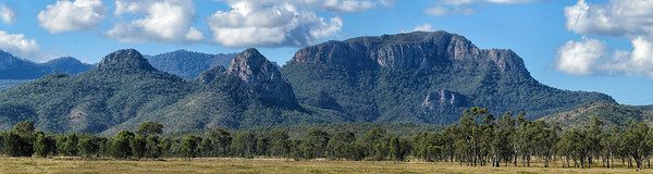 Late afternoon pano of the Marling Spikes, with the Sydney Heads behind them. The Homevale National Park is near Nebo, Central Queensland. Five shot pano.