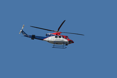 The Rescue Helicopter, flew past me having taken off from the roof of the nearby hospital.