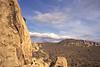 Rock climber in Joshua Tree National Park. California, USA.