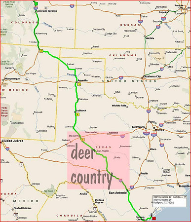 Denver to Rockport - be careful of the Hill Country, lots of deer.  Just after San Angelo, turn off of 87 onto 84 to I10 to save a few miles.