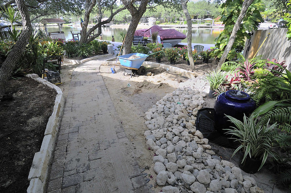 water feature and walk with pavers