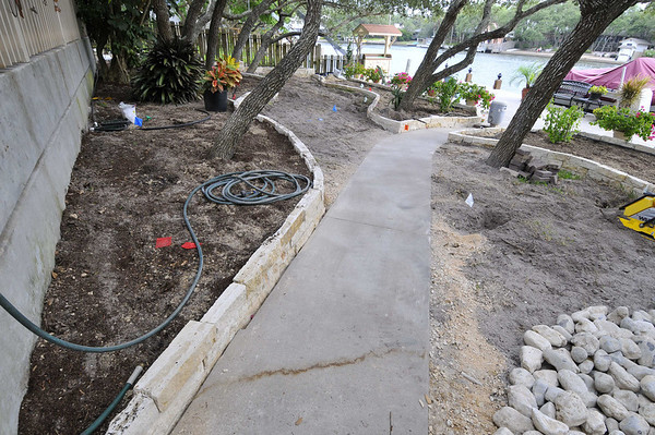 patio bed and walk before pavers