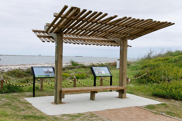 rest area, seating, ropes, wildflowers, and signage