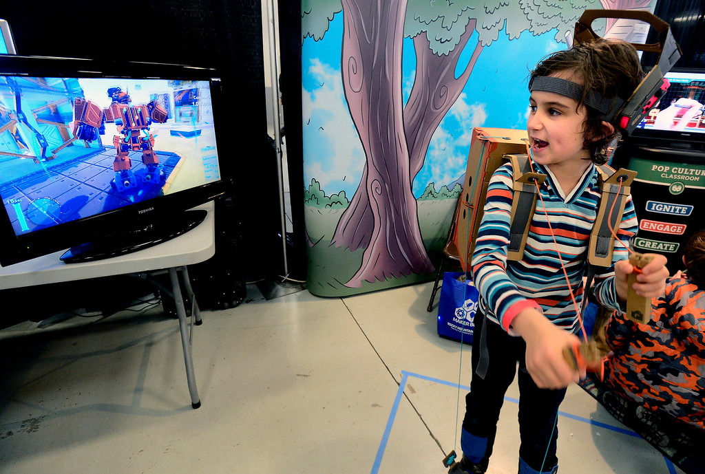 . LONGMONT, CO - MARCH 3, 2019 Julian Goldsmith, 8, plays with Nintendo Labo at the Pop Culture Classroom exhibit at Rocky Mountain STEAM Fest 2019 at the Boulder County Fairgrounds in Longmont on March 3, 2019. The Labo is a build-your-own coding and gaming kit. For more photos go to timescall.com. Paul Aiken / For the Camera