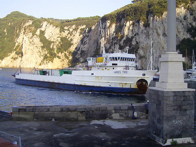 M/S ARIES TIDE arriving in Capri. An old offshore supply ship used for garbage, oil and special transports between Napoli and Capri island.