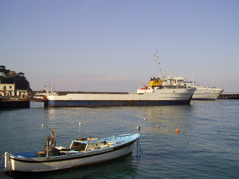 M/S ARIES TIDE moored in Capri. An old offshore supply ship used for garbage, oil and special transports between Napoli and Capri island.