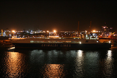 2009 - EUROCARGO VALENCIA moored at night in Alexandria.