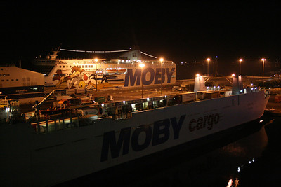 2008 - M/S LUIGI PA in Olbia at night. At the back MOBY FREEDOM.