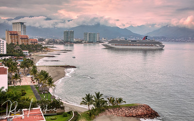Cruise ship arrives at dawn Puerto Vallarta, Mexico