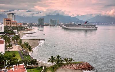 Cruise ship arrives at dawn Puerto Vallarta, Mexico