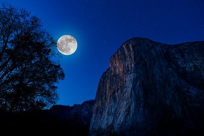Yosemite ElCapitan Night with Moon