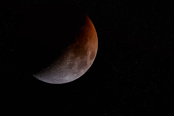 Red Moon with Stars