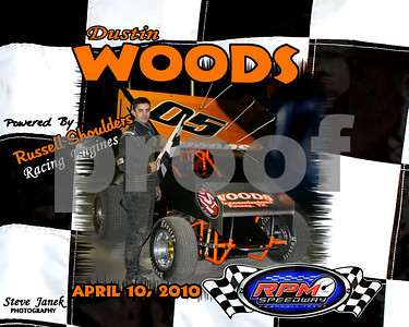 DUSTIN  WOODS 305 WINGED SPRINT CARS FEATURE  WINNER 2010
