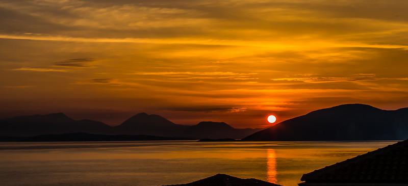 Sunrise over Lefkada from Kefalonia