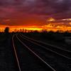 Barnby Dun rail lines at sunset