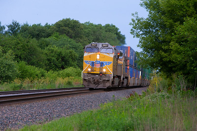 Union Pacific 2627 approaches the North Dakota Avenue crossing in Ames, Iowa on July 16, 2019. Photo © Wesley Winterink.