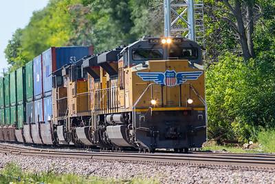 UP 8451 leads a Union Pacific freight train eastbound through downtown Ames, Iowa on August 9, 2020. Photo © Wesley Winterink.