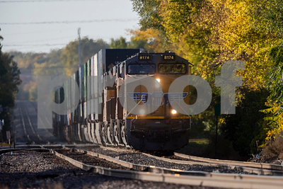 Union Pacific 8174 leads an eastbound train through Ames, Iowa on October 7, 2020. Photo © Wesley Winterink.