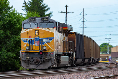 UP2524 pushes a Union Pacific freight train eastbound through downtown Ames, Iowa on July 26, 2020. Photo © Wesley Winterink.