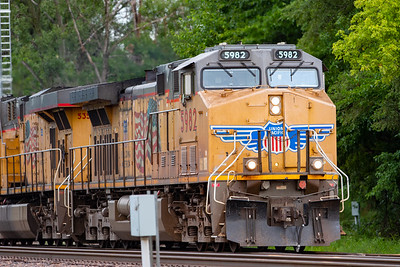 UP 5982 leads a Union Pacific freight train eastbound through downtown Ames, Iowa on July 26, 2020. Photo © Wesley Winterink.