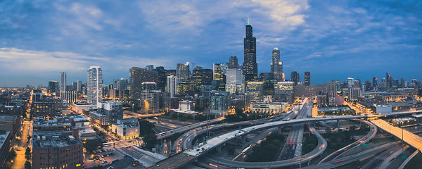 Chicago Panorama at dusk w/circle interchange
