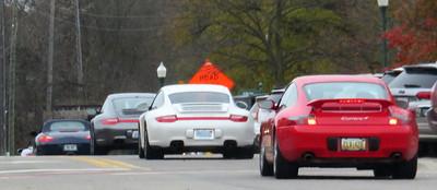 Porsches everywhere.