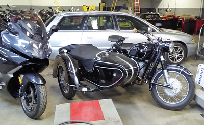The classic BMW motorcycle with side car.