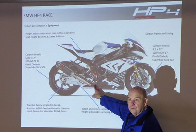 Features of a new BMW motorcycle.
