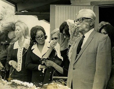 Mourners at Ruben Salazar's funeral, 1970