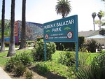 Entrance to park dedicated to Ruben Salazar, Los Angeles, CA, 1970