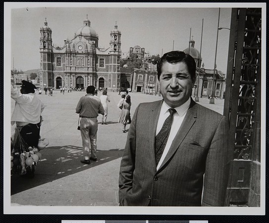 Ruben Salazar in Zocalo, the Plaza de la Constitucion (Constitution Square) in Mexico City, ca. 1967 [front]