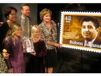 U.S. Postal Service issues Ruben Salazar commemorative stamp, 2008